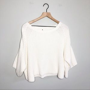 Free People Cream Cropped Over Size Sweater